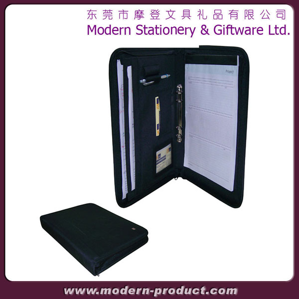 2013 Soft fabric zipper leather portfolio