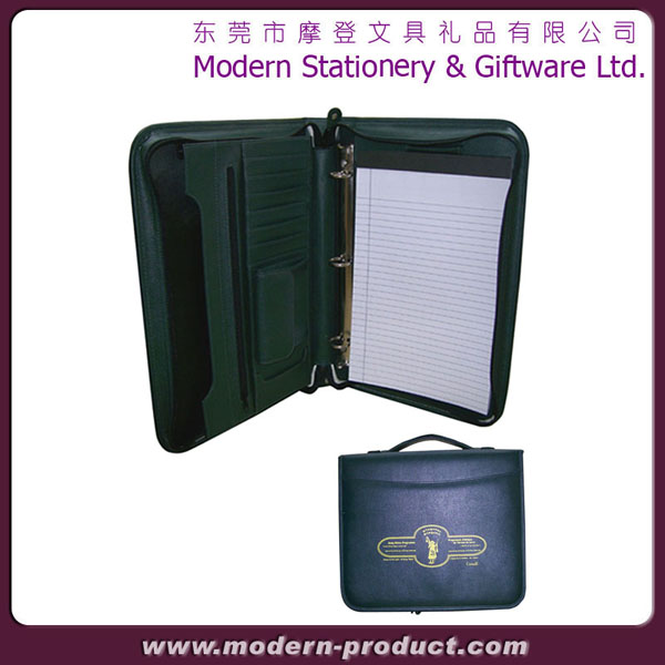 zipper business leather portfolio with handle
