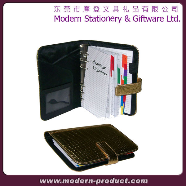 2013 Fashionable golden leather organizer notebook